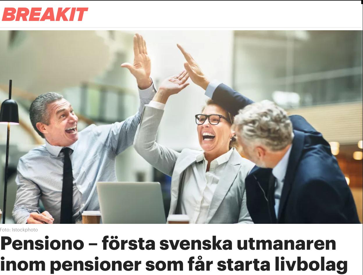 Pensiono – första svenska utmanaren inom pensioner som får starta livbolag